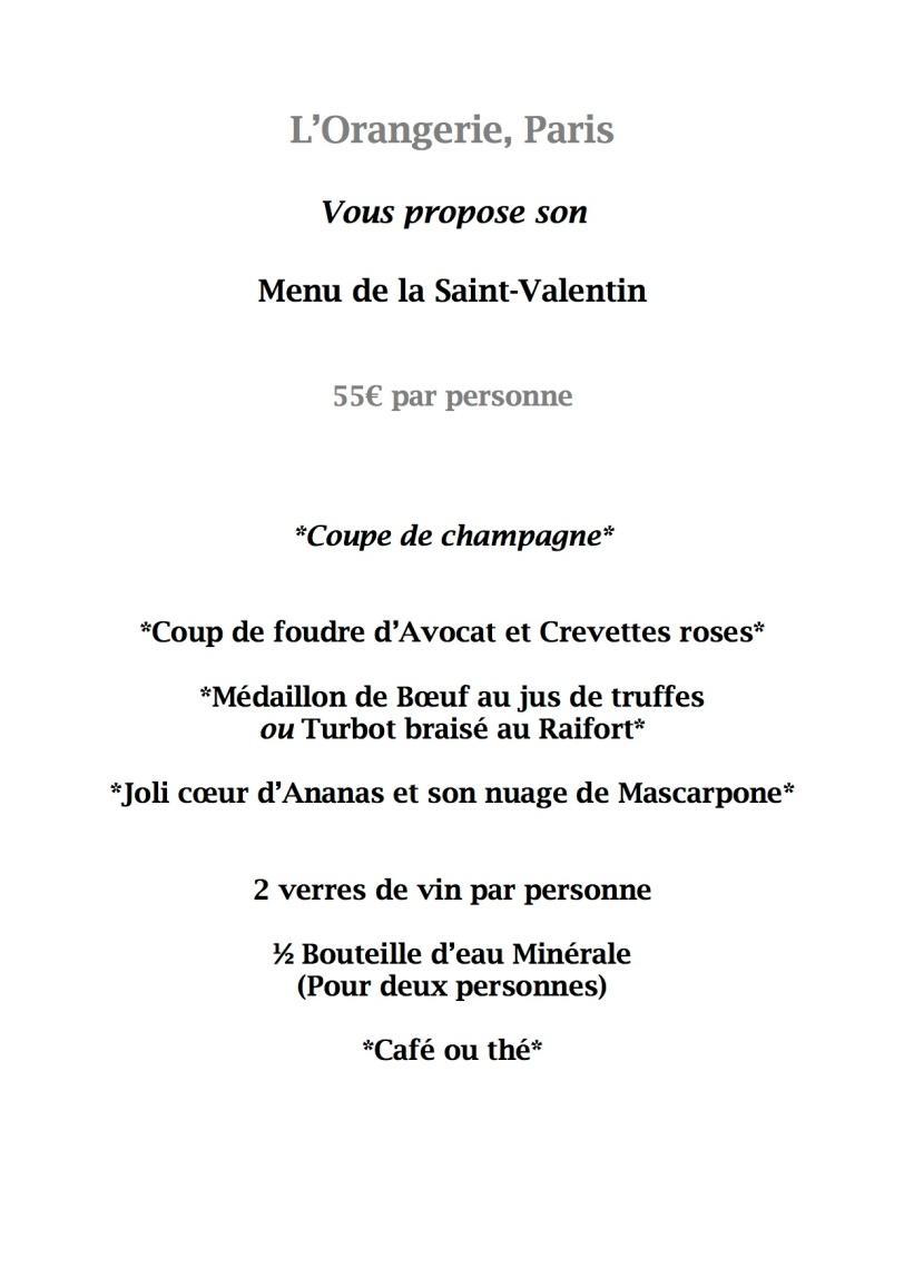 menu saint valentin orangerie 2014